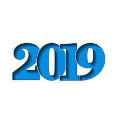 happy new year card blue 3d number 2019 isolated vector image
