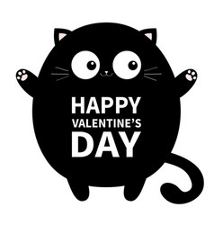 Happy valentines day black round fat cat ready vector