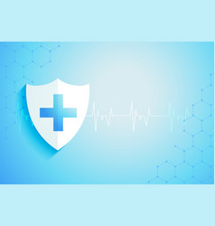 Healthcare medical protection shield with text vector