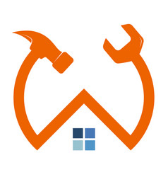 home repair hammer and wrench symbol vector image