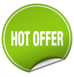 Hot offer round green sticker isolated on white vector