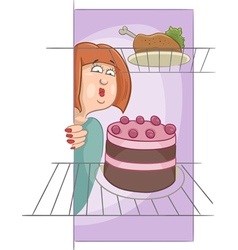 hungry woman on diet cartoon vector image
