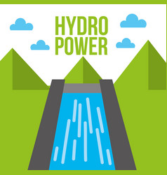 Hydro power dam water energy ecology vector