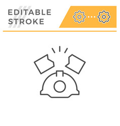 industrial accident editable stroke line icon vector image