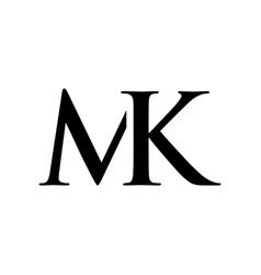 initial mk alphabet logo design template vector image