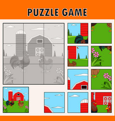 jigsaw puzzle game with rooster and hen vector image