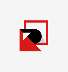 letter r square media business logo design vector image