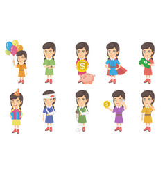 little caucasian girl set vector image
