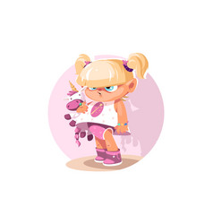 Little girl with pony vector