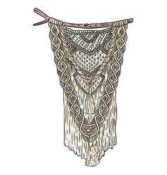 Macrame boho style wall hanger doodle textile vector