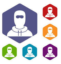 Man in balaclava icons set vector