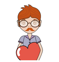 Man with mustache and heart in the chest vector