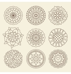 Mehndi indian henna tattoo flowers vector
