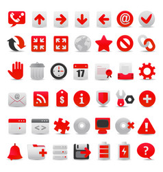 modern red web icon set vector image