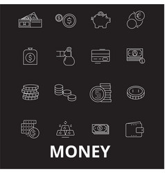 money editable line icons set on black vector image