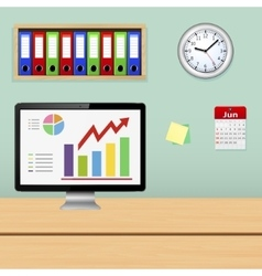 Monitor with information analysis on the screen vector image