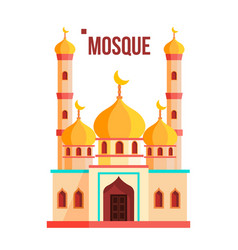 Mosque muslim arab isolated flat cartoon vector