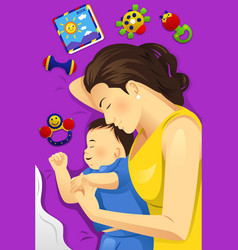 Mother baby sleeping together vector