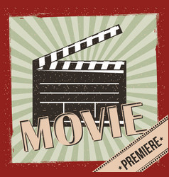 Movie film premiere retro invitation poster vector