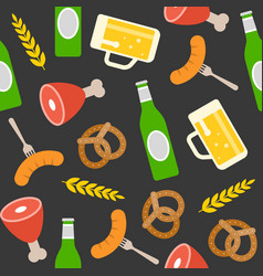 oktoberfest seamless pattern pretzel beer bottle vector image