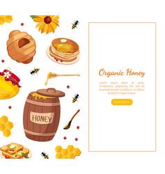 organic honey landing template natural honey vector image