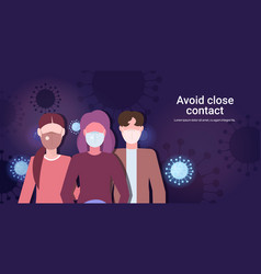 people wearing medical masks avoid close contact vector image