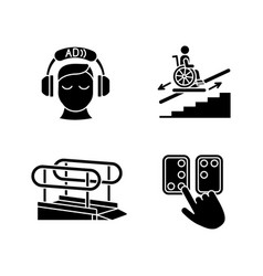 People with disabilities facilities black glyph vector