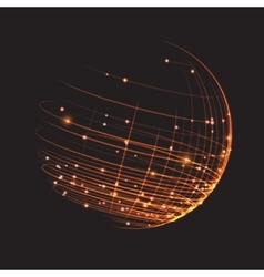 Point and curve constructed sphere wireframe vector