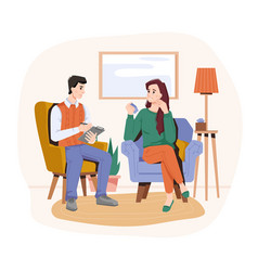 psychologist listening to crying woman patient vector image