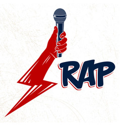 Rap music logo or emblem with microphone in hand vector