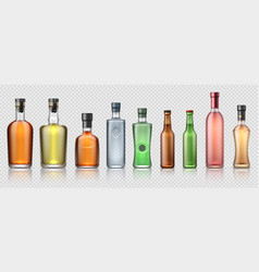 Realistic alcohol bottles transparent glass vector