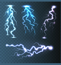 Realistic lightning collection on blue transparent vector
