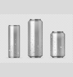 realistic metal cans aluminum bear soda and vector image