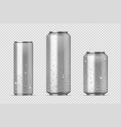 Realistic metal cans aluminum bear soda vector