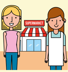 saleswoman and customer woman supermarket people vector image