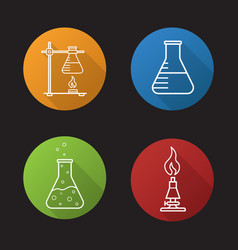 school chemical laboratory flat linear long vector image