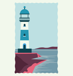 Sea scape flat scene with lighthouse vector