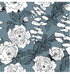 seamless pattern wild roses blossom branch vector image