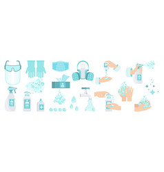 Set antiseptic for disinfection hand hygiene vector