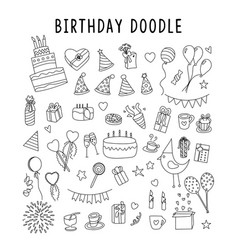 Set element doodle gift birthday set of vector
