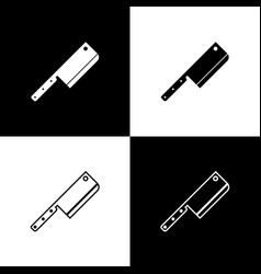 set meat chopper icons isolated on black and white vector image