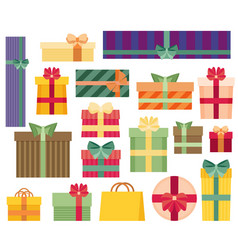 Set of different gift boxes flat design vector