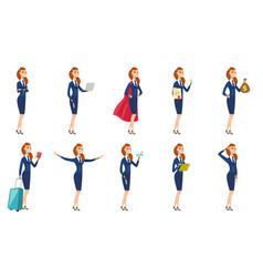 set of stewardess characters vector image