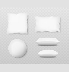 set realistic white pillow mockups with 3d vector image