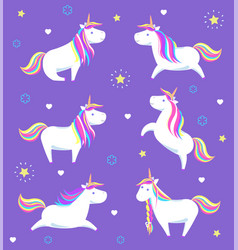 Set unicorns in poses from legend mysterious horse vector
