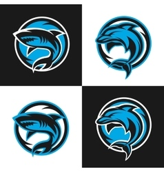 Sharks and dolphins sports logos vector