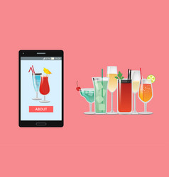 smartphone and cocktails web vector image
