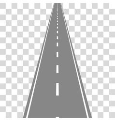 Straight Road on transparent grid Travel concept vector image