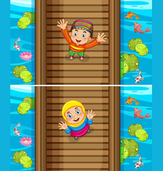 two scenes of muslim boy and girl on the bridge vector image