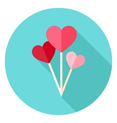 Valentine Day Heart Shaped Balloons Circle Icon vector image